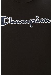 Champion - T-shirt. Okazja: na co dzień. Kolor: czarny. Materiał: materiał. Wzór: aplikacja. Styl: casual