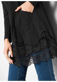 Czarna tunika bonprix w koronkowe wzory, długa