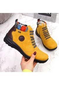 Botki damskie ocieplane żółte Rieker L7174. Kolor: żółty. Materiał: skóra ekologiczna