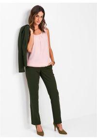 Bluzka bez rękawów bonprix pastelowy jasnoróżowy. Kolor: różowy. Długość rękawa: bez rękawów. Styl: elegancki