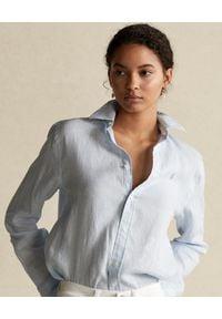 Ralph Lauren - RALPH LAUREN - Niebieska lniana koszula Relaxed Fit. Typ kołnierza: polo. Kolor: niebieski. Materiał: len. Długość rękawa: długi rękaw. Długość: długie. Styl: klasyczny