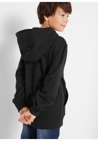 Bluza chłopięca z kapturem bonprix czarny z nadrukiem. Typ kołnierza: kaptur. Kolor: czarny. Wzór: nadruk