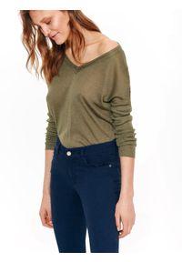 Brązowy sweter TOP SECRET na co dzień, casualowy, z krótkim rękawem