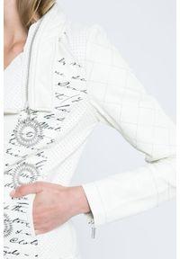 Kremowa kurtka Desigual gładkie, casualowa, na co dzień