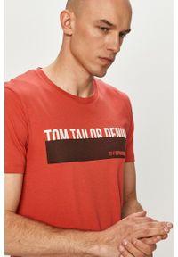 Czerwony t-shirt Tom Tailor na co dzień, z nadrukiem, casualowy
