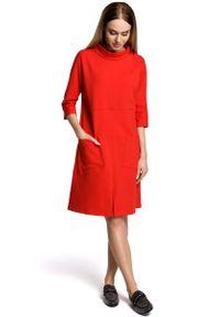Czerwona sukienka dzianinowa MOE sportowa, sportowa
