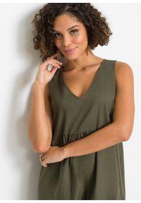 Długa sukienka z lnu bonprix ciemnooliwkowy. Kolor: zielony. Materiał: len. Długość: maxi