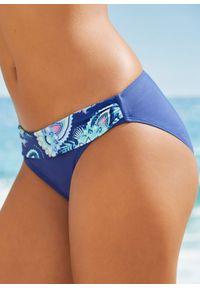Figi bikini bonprix niebieski. Kolor: niebieski. Wzór: nadruk