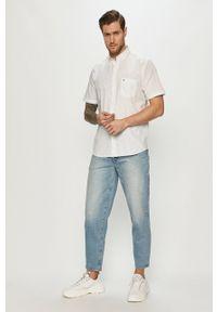 Biała koszula Cross Jeans na co dzień, casualowa, z krótkim rękawem, gładkie