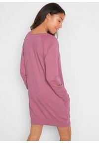 Sukienka dresowa, długi rękaw bonprix jeżynowy sorbetowy melanż. Kolor: fioletowy. Materiał: dresówka. Długość rękawa: długi rękaw. Wzór: melanż