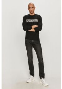 Czarny sweter Calvin Klein na co dzień, z nadrukiem, z długim rękawem