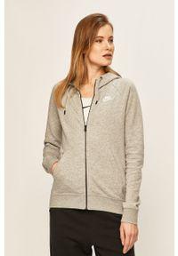 Nike Sportswear - Bluza. Kolor: szary. Materiał: dzianina. Długość rękawa: raglanowy rękaw. Wzór: gładki