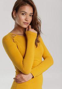 Renee - Żółta Sukienka Echonne. Okazja: na imprezę, na co dzień. Kolor: żółty. Materiał: dzianina. Długość rękawa: długi rękaw. Wzór: aplikacja. Typ sukienki: proste, dopasowane. Styl: casual. Długość: mini