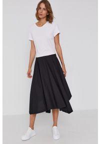 DKNY - Dkny - Sukienka. Kolor: czarny. Materiał: materiał. Długość rękawa: krótki rękaw. Typ sukienki: asymetryczne, rozkloszowane
