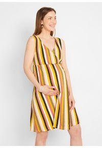 Sukienka ciążowa i do karmienia LENZING™ ECOVERO™ bonprix w kolorowe paski. Kolekcja: moda ciążowa. Kolor: czarny. Materiał: wiskoza. Wzór: kolorowy, paski. Długość: mini