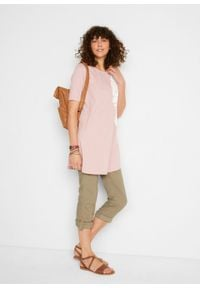 Shirt oversize w batikowy wzór, bawełna organiczna bonprix dymny jasnoróżowy - biały. Kolor: fioletowy. Materiał: bawełna