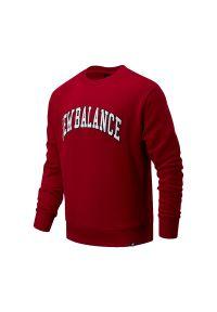Czerwona bluza New Balance z nadrukiem, casualowa, na co dzień