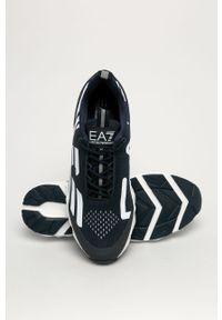 Niebieskie sneakersy EA7 Emporio Armani na sznurówki, z cholewką, z okrągłym noskiem