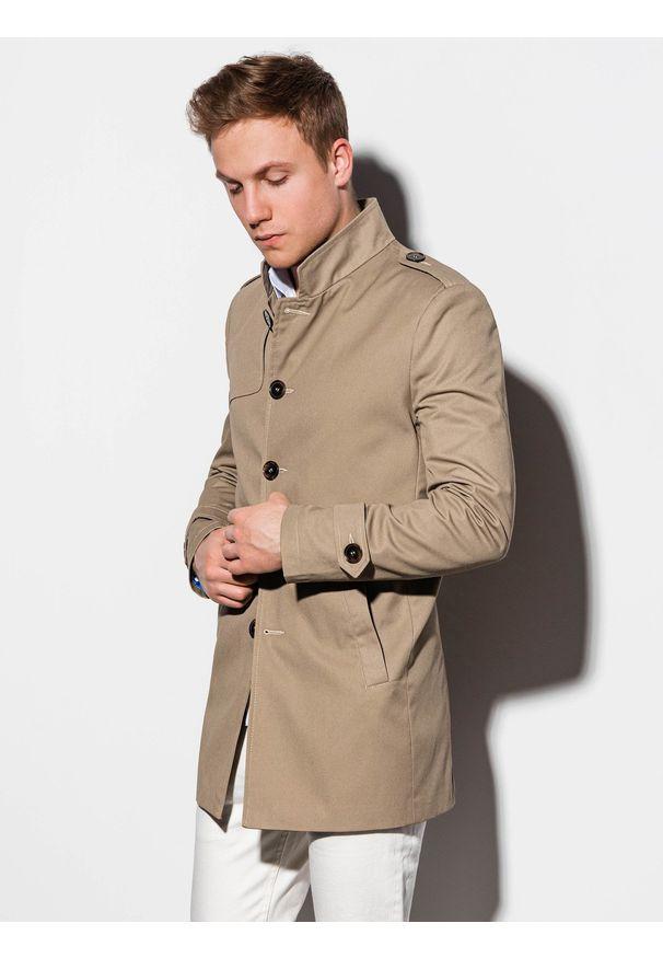 Beżowy płaszcz Ombre Clothing elegancki, ze stójką, na wiosnę