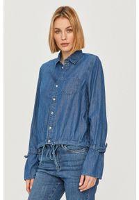 Pepe Jeans - Koszula Allison. Okazja: na co dzień. Kolor: niebieski. Materiał: tkanina. Długość rękawa: długi rękaw. Długość: długie. Wzór: gładki. Styl: casual