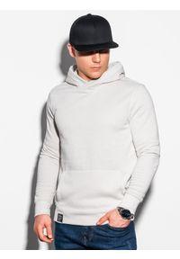 Ombre Clothing - Bluza męska z kapturem B1079 - ecru - XXL. Typ kołnierza: kaptur. Materiał: bawełna, poliester