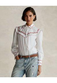Ralph Lauren - RALPH LAUREN - Bawełniana biała koszula Straight fit. Typ kołnierza: polo. Kolor: biały. Materiał: bawełna. Długość rękawa: długi rękaw. Długość: długie. Wzór: haft, aplikacja