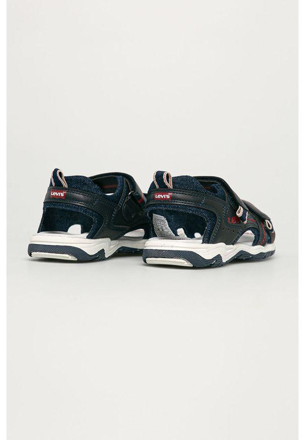 Niebieskie sandały Levi's® biznesowe, w kolorowe wzory, na rzepy