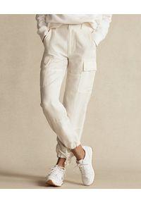 Ralph Lauren - RALPH LAUREN - Kremowe spodnie cargo. Kolor: beżowy. Materiał: tkanina #1