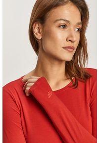 Czerwona bluzka z długim rękawem 4f casualowa, na co dzień