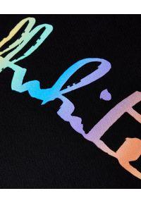 OFF-WHITE - Czarna bluza z logo. Typ kołnierza: kaptur. Kolor: czarny. Materiał: dresówka, materiał. Długość rękawa: długi rękaw. Długość: długie. Wzór: aplikacja, kolorowy. Styl: sportowy, klasyczny, elegancki