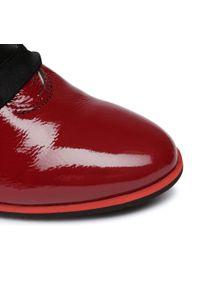 Czerwone botki Oleksy na obcasie, na średnim obcasie
