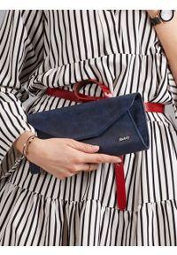 Niebieska kopertówka ROVICKY skórzana, wizytowa, na ramię