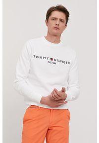 TOMMY HILFIGER - Tommy Hilfiger - Bluza. Okazja: na co dzień. Kolor: biały. Materiał: dzianina, bawełna. Wzór: aplikacja. Styl: casual