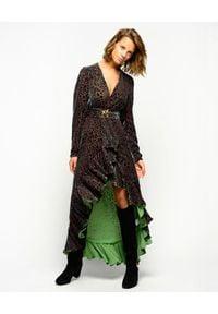 Pinko - PINKO - Asymetryczna sukienka w cętki Eridano. Typ kołnierza: dekolt w kształcie V. Kolor: brązowy. Wzór: aplikacja. Typ sukienki: asymetryczne. Długość: maxi