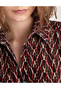 Marella - MARELLA - Wzorzysta sukienka Nota. Kolor: brązowy. Materiał: tkanina, elastan. Długość rękawa: długi rękaw. Wzór: gładki. Typ sukienki: koszulowe. Długość: midi