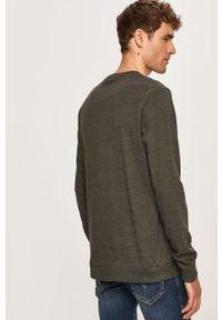 Zielona bluza nierozpinana PRODUKT by Jack & Jones z okrągłym kołnierzem, casualowa, z aplikacjami