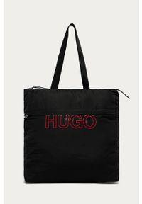 Czarna shopperka Hugo z nadrukiem, na ramię, duża