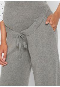 Spodnie ciążowe dzianinowe bonprix szary melanż. Kolekcja: moda ciążowa. Kolor: szary. Materiał: dzianina. Wzór: melanż