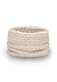 Beżowy szalik PaMaMi w jednolite wzory, na zimę
