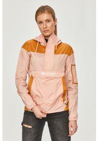 Różowa kurtka columbia z kapturem, casualowa, gładkie, na co dzień