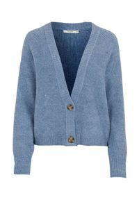 Cellbes Krótki rozpinany sweter z guzikami niebieski melanż female niebieski 34/36. Typ kołnierza: dekolt w serek. Kolor: niebieski. Materiał: poliester, prążkowany. Długość: krótkie. Wzór: melanż. Styl: klasyczny