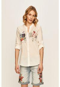 Biała koszula Desigual długa, na co dzień, casualowa