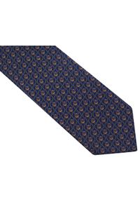Modini - Granatowy krawat męski - siatka D105. Kolor: niebieski. Materiał: tkanina, mikrofibra