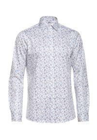 Biała koszula VEVA do pracy, w kwiaty