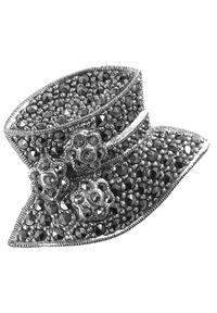 Braccatta - TOPI Srebrna broszka markazyty kapelusz średnia. Materiał: srebrne. Kolor: srebrny. Wzór: kwiaty, aplikacja, kolorowy. Kamień szlachetny: markazyt