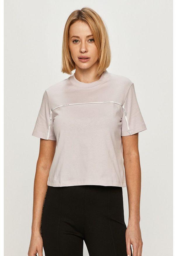 Fioletowa bluzka Calvin Klein Jeans casualowa, na co dzień, z aplikacjami