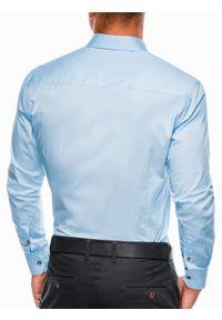 Ombre Clothing - Koszula męska elegancka z długim rękawem K302 - błękitna - XXL. Kolor: niebieski. Materiał: bawełna, elastan. Długość rękawa: długi rękaw. Długość: długie. Wzór: aplikacja. Styl: elegancki