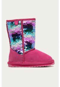Różowe buty zimowe EMU Australia z cholewką, na zimę