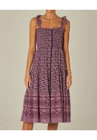 M.A.B.E - Sukienka midi na ramiączkach Jani. Kolor: różowy, fioletowy, wielokolorowy. Materiał: tkanina, bawełna. Długość rękawa: na ramiączkach. Wzór: paisley. Sezon: lato. Długość: midi