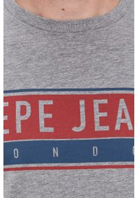 Pepe Jeans - T-shirt Jayo. Okazja: na co dzień. Kolor: szary. Wzór: nadruk. Styl: casual